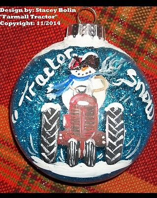 """3"""" Disk Glass Handpainted Farmall Tractor and Snowman Ornament"""