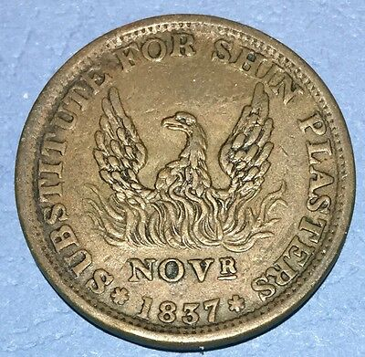 1837 Hard Times Token - Phoenix, Specie Payments Suspended, May 10th