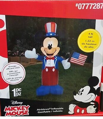 Disney Patriotic Mickey Mouse American Flag July 4Th Air Blown Inflatable 4 Feet