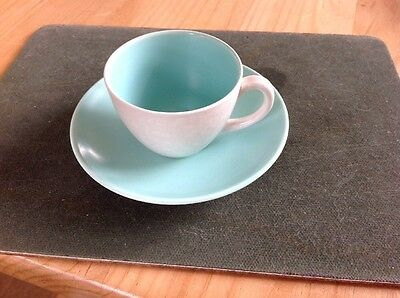 Poole Pottery Twintone Coffee Cup And Saucer