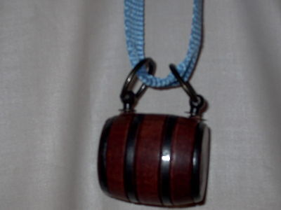 Puppy St. Bernard Wooden Barrel Keg With A Blue Strap