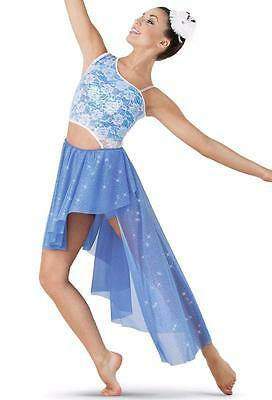 Dance Costume Medium Child Periwinkle & Lace Lyrical Solo Competition Pageant
