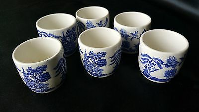 Vintage Stafforedshire Blue And White Real Old Willow Pattern  6 Egg Cups