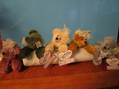 "SET OF 5 MINIATURE MOHAIR BEARS By Annette Funicello~~~ 7"" LONG"