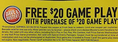 Dave And & Busters D&B $20 gameplay with identical purchase powercard EXP 2/2018