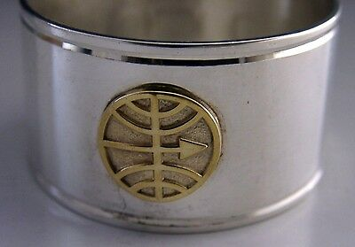 Unusual English Sterling Silver & Gold Napkin Ring Japanese Mon Crest? 1992