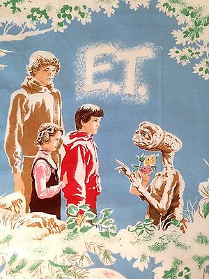 Vintage 80s E.T. ET Extra Terrestrial Movie Twin Bedspread Bed Cover Fabric1982