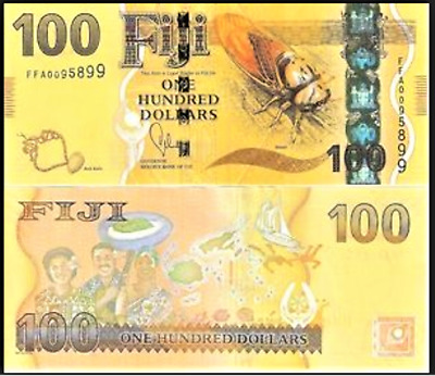 FIJI $100 One Hundred Dollars 2013 Flora Fauna Culture Bank Note Currency UNC