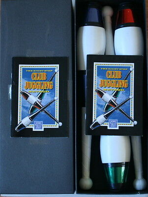 Boxed 8 Step Method Circus 3  Juggling Clubs & Instructions Booklet Used Ex Cond