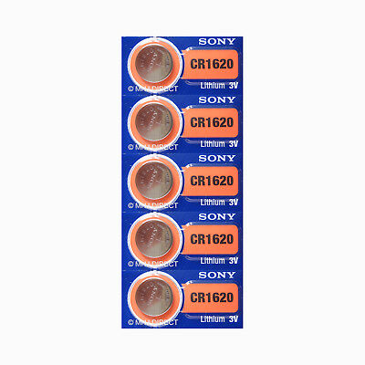 5 x SONY Lithium 3v Batteries CR1620 CR 1620 DL1620 Coin Cell Use By 2028