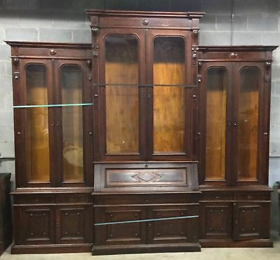 Large Walnut And Burl Renaissance Wall Unit 6 Door Bookcase With Desk
