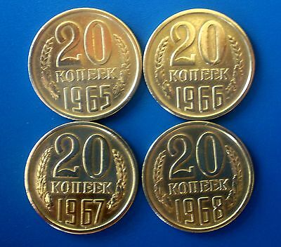 Old original coins  very rare ussr 1965, 1966, 1967, 1968  20 kopek Russia