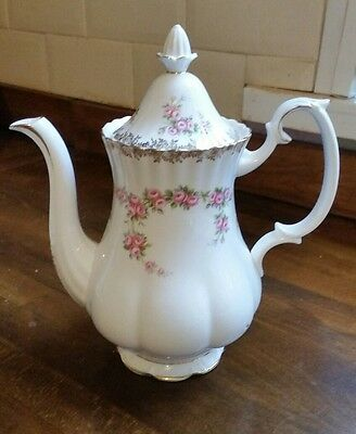 Vintage Royal Albert Bone China Pink Roses Dimity Rose Large Coffee Pot