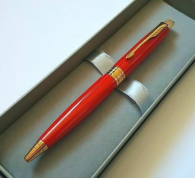24ct Gold Plated Metal Red Parker Aster Ball Point Writing Pen 24k Gift Box Ink