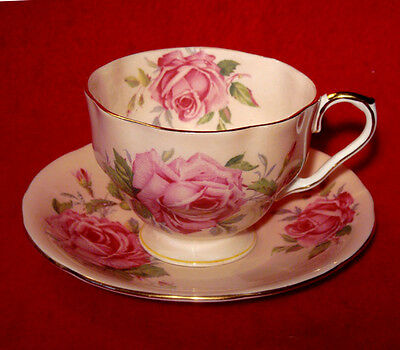 Vintage Aynsley Cup & Saucer Pink Cabbage Roses Pattern C906/3 Made In England