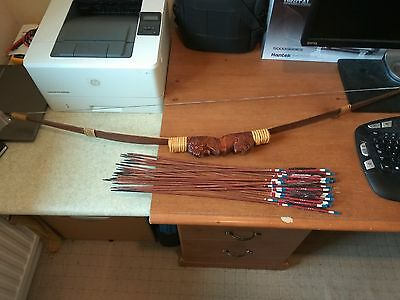 Sculptured Wooden Bamboo Bow & Arrows by Native Iban from Borneo, Sarawak
