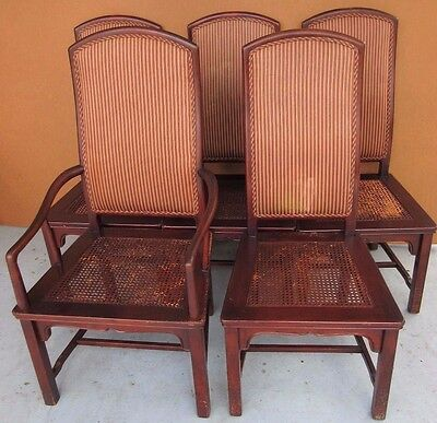 Vtg Henredon Set of 5 Cane Seat Upholstered High Back Mahogany Dining Chairs
