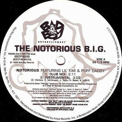 "The Notorious B.I.G ‎– Notorious ft Lil Kim / Puff Daddy 1999 Original 12"" Vinyl"
