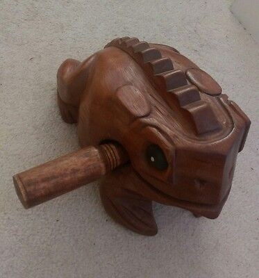 Wooden frog guiro rasp musical percussion instrument ornament hippie