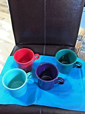 Fiestaware Hlc ~4 Mugs ~ Scarlet(Red) Turquoise Green & Purple (Plum) Never Used