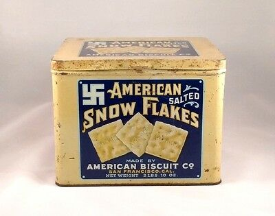 ANTIQUE American Salted Snow Flakes Biscuit Co. Tin - Bright Colors & Graphics