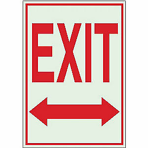 BRADY Exit Sign,10 x 7In,WHT/R,Exit,ENG,SURF, 80221