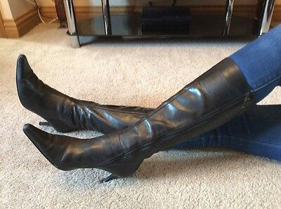 Dune Black Leather Knee High Stiletto Boots Size 8 Euro 41