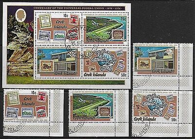 Cook Islands 1974 Centenary of the UPU - MS (FDI) and 4 stamps - Used