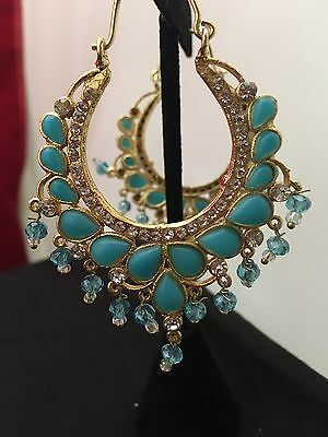 NWOT Chand Bali Hoop Earrings Attached Blue Imitation Stones .