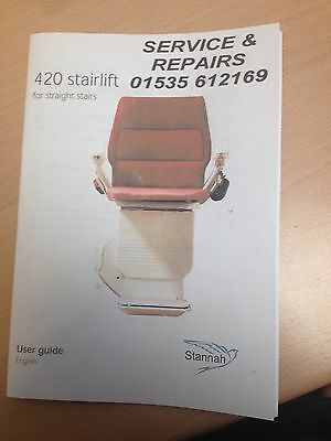 Stannah  420 Stair Lift with two remotes less than 12 months old under warranty.