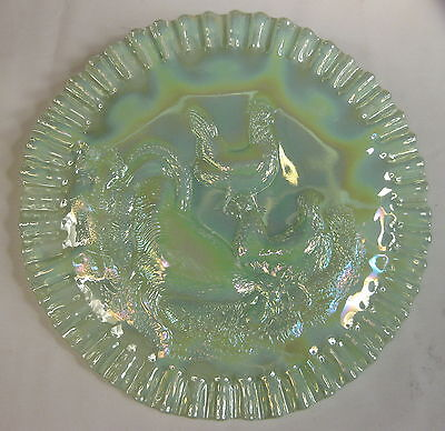 FENTON FARMYARD with JEWELED HEART ext SEAMIST GREEN CARNIVAL GLASS CHOP PLATE