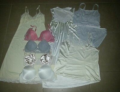 Lot of 9 pieces Women's Intimate Lingerie Slip, Cami, Bras & Nightgown Set #4