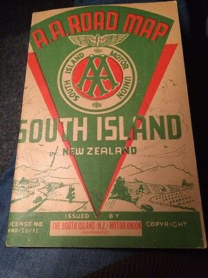 New Zealand South Island Motor Union A.A. 1940's Automobile Booklet Road Map