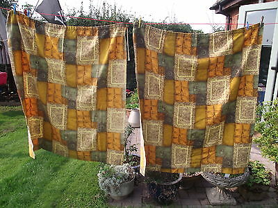 "1950's vintage barkcloth mid century  curtains 47"" x 51"""