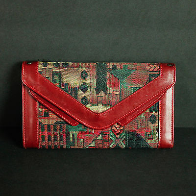 """Vintage Boho Wallet Clutch Red Checkbook Credit Card Bohemian Leather Woven 8"""""""
