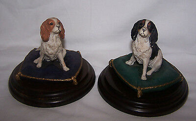 2 Country Artists King Charles Spaniels Sitting On Cushions Figures