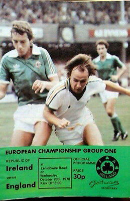 Republic Of Ireland V England 25/10/1978 Euro Championship