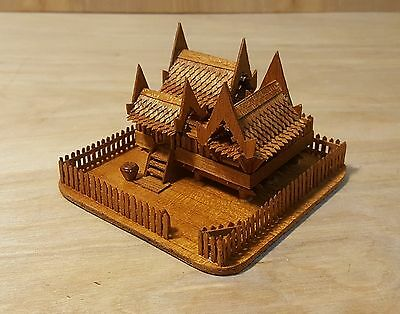 "Vintage TRAMP ART MINIATURE THAI HOUSE ~ Delicate Painstaking Build 4""x2.25"""
