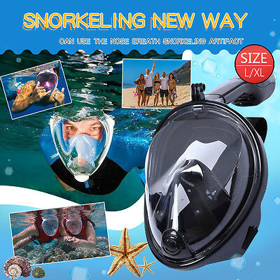 For Gopro Full Face Snorkeling Mask Scuba Diving Swimming Snorkel Breather Pipe