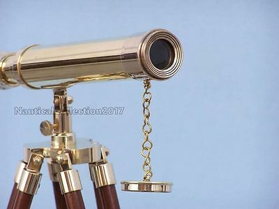 """Collectible 18"""" Marine Working Brass Telescope With Adjustable Wooden Stand"""