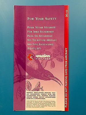 Hawaiian Airlines Safety Card--Dc 10
