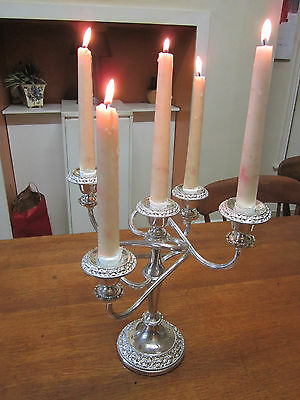 Old Antique Regency Style Silver Plate 5 Branch Candelabra English made c1970