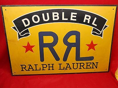 "Vintage Ralph Lauren Double R L Metal Advertising Sign Rare 30""x20"""