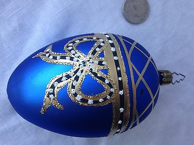 """Christmas Ornament Cobalt Egg Hand-Painted Gold Bow Glitter Germany 4.25"""""""
