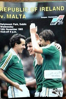 Republic Of Ireland V Malta 16/11/1983 Euro Championship