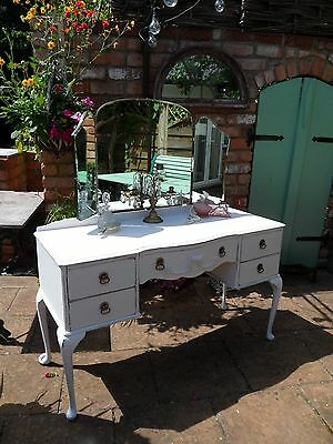 Vintage Painted French Style Dressing Table with Triple Mirror Shabby Chic