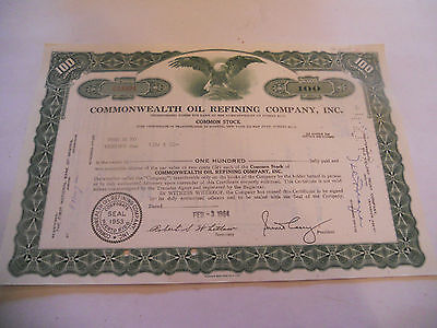 Old Stock Certificates 100 Shares Commonwealth Oil Refining Company Inc Green C