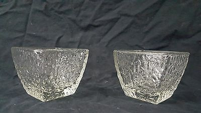Set of Two Disaronno Glass Heavy Square Textured  Rippled  Snacks/Nuts/Dips Bowl