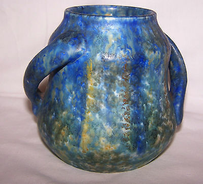 Art Deco Bretby Pottery Blue / Green Mottled Matt Glaze 2 Handle Pot