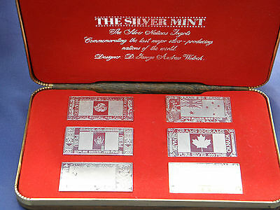The Silver Mint Pure Silver .999 Nations Ingots Set Of Six Boxed Set 1973